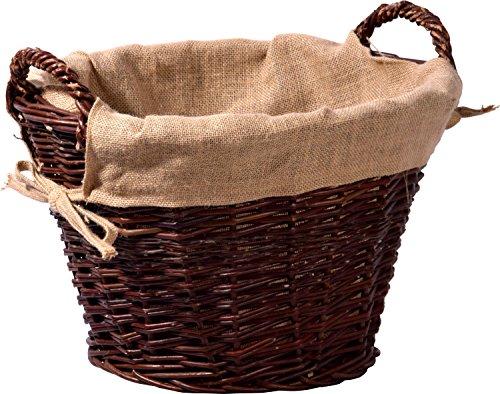 dobar Dunkler ungeschälter Weide, mit Jute ausgekleidet Kaminholzkorb, Dunkelbraun, 50x50x34 cm