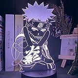 Naruto figura 3D luz nocturna decoración del dormitorio de los niños iluminación regalo de cumpleaños para niños lámpara de ilusión led de cabecera-16 colores con control remoto