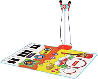 Fisher-Price Dance & Sing Along Music Playmat for Kids, Touch Sensitive, for Solo or Group Play, Different Musical Intruments Sounds, 2 Detachable Microphones and MP3 Player Holder, 3 Years and Up