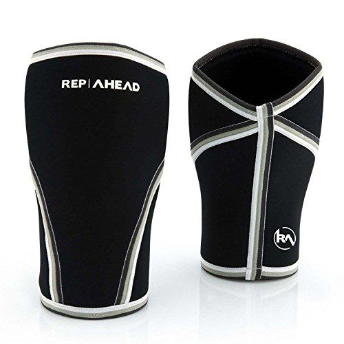 REP AHEAD® Kniebandagen (1 Paar, 7mm) - Extra Feste und Bequeme Knee Sleeves - Knieschoner für Fitness, Gym, Gewichtheben, Bodybuilding, Kraftsport, Laufen, Sport (L)
