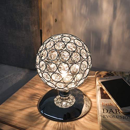 Kingso K5 - Lampada da tavolo in cristallo argentato, dimmerabile, moderna lampada da comodino, con sensore touch, diametro 120 mm, per soggiorno, camera da letto, lampadina G9 non inclusa