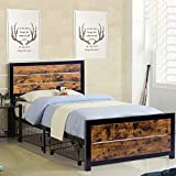 WAYTRIM Twin Bed Frame, Metal Bed Frame Twin Size with Headboard and Footboard Mattress Foundation Strong Slat Support, with Rolling Black Wire Underbed Cart - Antique Brown