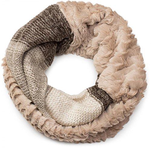styleBREAKER écharpe snood à maille avec motif rayures effet vagues, fourrure synthétique, écharpe en maille, pour femmes 01018142, couleur:Beige-marron