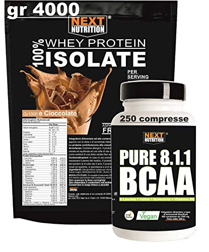 Proteine BCAA 100% Isolate WHEY V.B. 104 KG 4 4000 gr Cacao Solo 0,18 gr di Grassi e 1,2gr di Carboidrati + BCAA 8:1:1 250 compresse 1300MG Recupero Muscolare Senza Glutine Prodotte in Italia