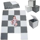 MSHEN18 Piezas Alfombra Puzzle Bebe con Certificado CE y certificación EVA | Puzzle Suelo Bebe | Puede ser Lavado Goma eva,Tamaño 1.62 Cuadrado,blanco-gris-ALg18