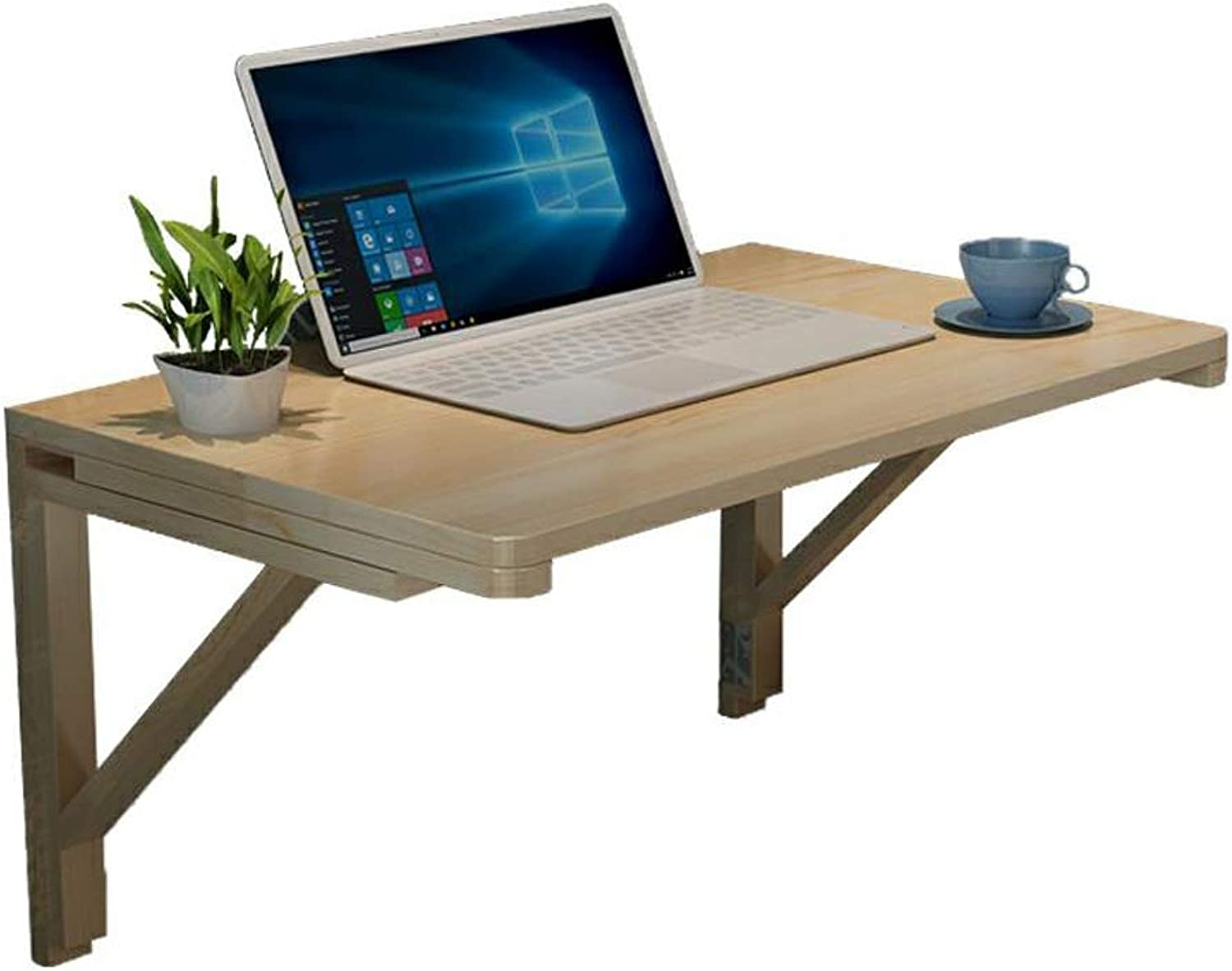 Folding Table by Wall, Solid Wood Wall Hanging Table Computer Table Dining Table Desk, Double Support, Multi-Size (Size   70x40cm)