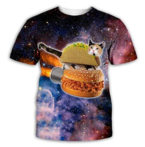 Color Starry Sky Cat and Burger Camiseta De Hombre Camiseta De Verano Personalizada Impresa En 3D De Manga Corta