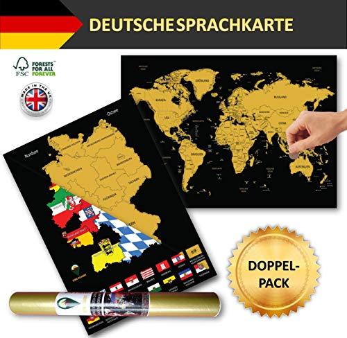 Global Walkabout DEUTSCH - Kratzerkarte mit Flaggenhintergrund - Deluxe A3 WeltKratzerkarte Poster Länder und Fakten mit A3 Deutschland Kratzerkarte - Reisegeschenk (Black)