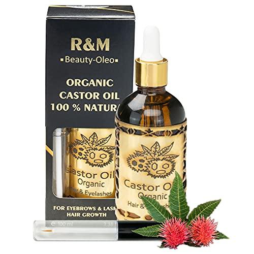 R&M Beauty-Oleo Bio Rizinus-Öl - kaltgepresstes Rizinusöl - 100{17ccd77f26675dd3514856a608f83214caccbaf77f14ee307ae9203166d3d32d} rein - für Wimpern, Augenbrauen, Haare, Haut, Bart & Nägel - Natur-Kosmetik - 100 ml