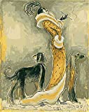 Diy Oil Painting Paint by Number Kit for Adults, Color by Number,Woman and Dog,16''X20''