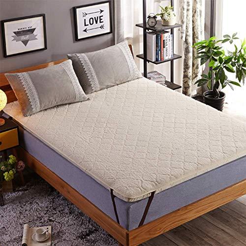 HM&DX Reversible Fleece Mattress Topper, Quilted Soft Hypoallergenic Tatami Floor Mattress Fitted Mattress pad Dorm Bedroom -Beige 200x220cm(79x87inch)