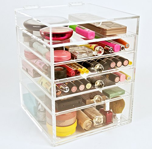 Acrylic Makeup Cosmetics Organizer 5 Drawer Beauty Cube Storage (Crystal Knobs)