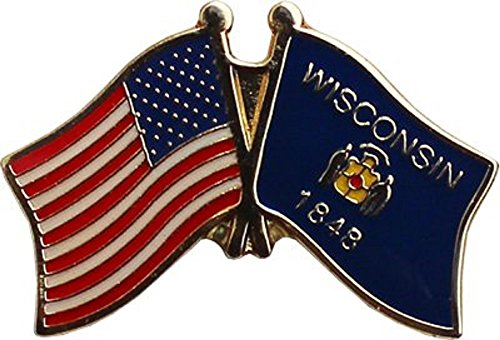 Wholesale Pack of 6 USA American State Wisconsin Flag Bike Hat Cap lapel Pin