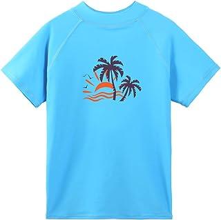 TFJH E Boys Girls UV 50+ Swim T-Shirt Short Sleeve Rashguard Suit Blue Short 8A