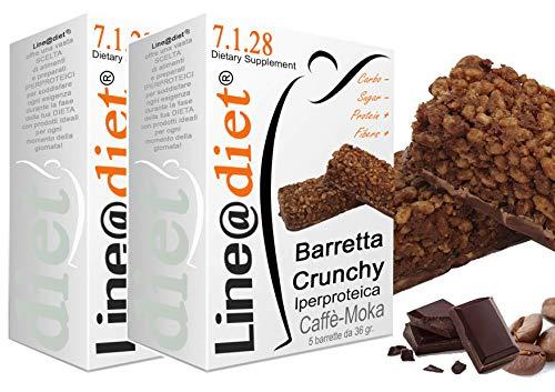 BARRETTE CRUNCHY PROTEICHE Line@diet - ZERO ZUCCHERI con 15 gr di PROTEINE / 4 gr di CARBOIDRATI! Ideali per DIETA PROTEICA (10 Crunchy Caffè Moka)