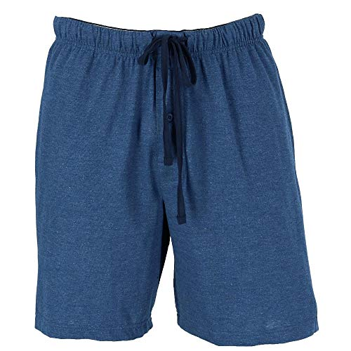 Hanes Men's Jersey Knit Cotton Button Fly Pajama Sleep Shorts, 2XL, Blue