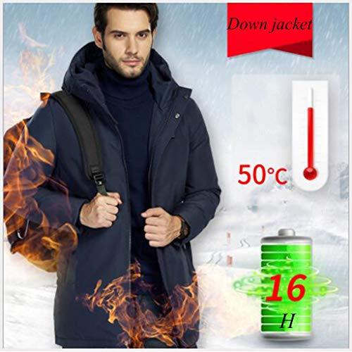 Heren donsjack, Secure winterjas met intelligente verwarming.3 niveaus van temperatuurregeling.Voor outdoor fietsen, skiën, reizen, Het perfecte cadeau for ouders (Color : Navy, Size : S)