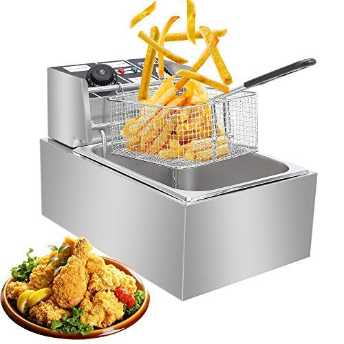 [US-W]ZOKOP EH81 2500W MAX 110V 6.3QT/6L Stainless Steel Single Cylinder Electric Fryer US Plug Fryers with Baskets Fry Daddy Deep Fryer Fish Fryer Electric Deep Fryer