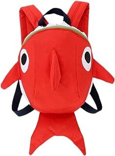 Mochilas Infantiles, 2 a 6 años Niños Niña 3D Tiburón Animal Mochilas Colegio Bolso para Guardería Primaria (Rojo)