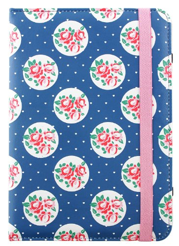Trendz Universal Folio Case with Built-In Stand and Closing Strap for 7 inch Tablet Compatible with iPad Mini, Google Nexus 7, Samsung Galaxy Tab 3 7.0, Kindle Fire HD 7 inch and Tesco Hudl - Blue Floral