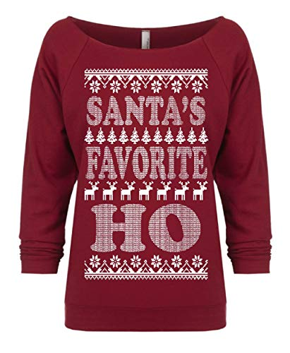 UNAMEIT Santa's Favorite Ho. Funny Christmas Raglan. 3/4 Sleeve Terry Raw Edge (XL, Scarlet RED)