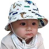 Tyidalin Chapeau de Soleil Bebe Garcon Bonnet Bob de Plage Anti UV Pliable ete en Coton pour Enfant, Ecru, Circonference Chapeau 48cm 6-12 mois - Small