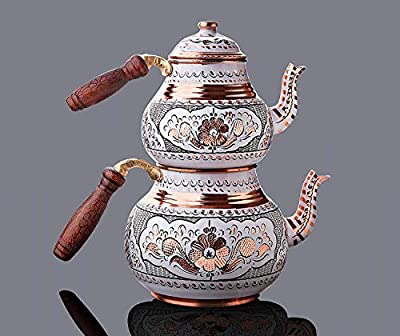 Turkish Copper TeaPot Kettle for Stovetop as Tea Pots Set - Stainless Whistling for Serving and Drinking Tea Maker Housewarming Gift Women