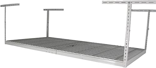 MonsterRax 4x8 Overhead Rack - 600 LB Capacity Adjustable Ceiling Mounted Rack (White, 24