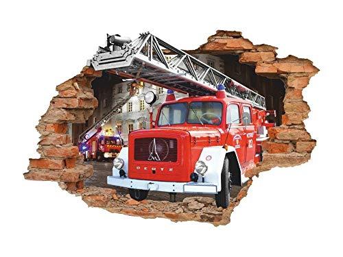 Pegatinas de pared'Calcomanía de pared 3d de camión de bomberos, calcomanía de pared de camión de bomberos, calcomanía de vinilo removible'
