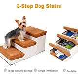 Pet Stairs,Foldable Durable Dog Ramp,3-Step Storage Style Pet Stair,Easy to Set up Dog Stairs...