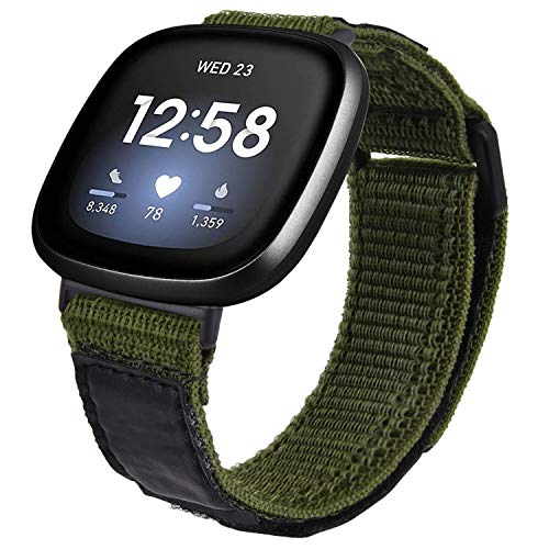 last chance order the fitbit versa 3 in time for christmas V-MORO Nylon Band Compatible with Fitbit Versa 3 Bands/Fitbit Versa Sense Strap Men Woman Soft Woven Loop Strap Wristband Replacement for Fitbit Sense/Versa 3 Smartwatch Army Green