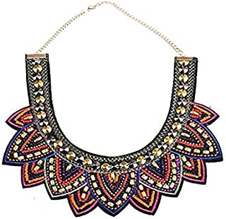Collar Statement Necklace,Tribal Beaded Bib Ethnic Womens Vintage Fabric Colorful Bohemian Choker Chunky Necklace Jewelry