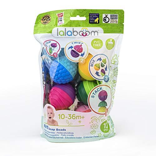 Lalaboom – Jouet d'éveil éducatif - Set de Perles à Assembler –Construction Formes et Couleurs - Evolutif de 10 mois à 4 ans, BL100, 12 pièces