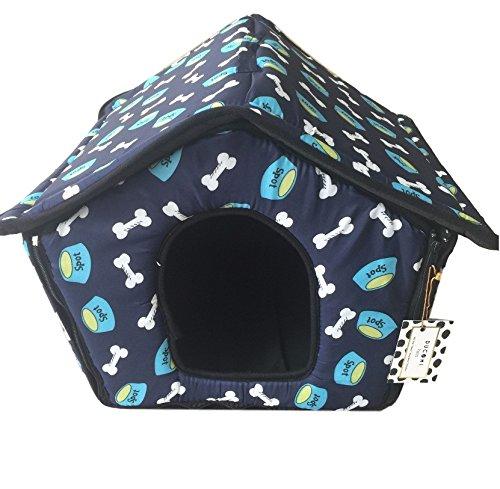 Ducomi Dogbnb - Casetta in Morbido Tessuto per Cani e Gatti - Cuccia Pieghevole per Cane e Gatto a Forma di Casa (L, Random Colors)