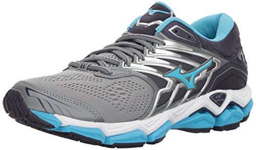 Mizuno Women's Wave Horizon 2 Running Shoe, Monument/Aquarius, 6.5 B US