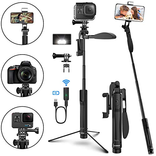SelfieStickTripod, ELEGIANT Extendable Phone Tripod Stand forPhone and Camera with Bluetooth Remote, LED Light, Balance Handle Compatible with iPhone 11 Pro Xs Xr Android Galaxy S20 DSLR Gopro More