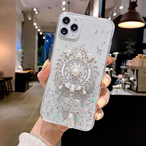 KESHOUJI Diamond Sun Flower Holder Stand Funda Suave para teléfono para iPhone 11 Pro MAX X XS XR 6 7 8 Plus para Samsung S8 S9 A50 S, 3, para S10