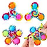 GOHEYI Pop Fidget Spinner Toys 4 unidades, Tie Dyed Pop Fidget Spinner Toy, Favor de fiesta Simple Push Bubbles Fidget Toy, Popper Spinner para niños que reduce el aburrimiento, TDAH, ansiedad