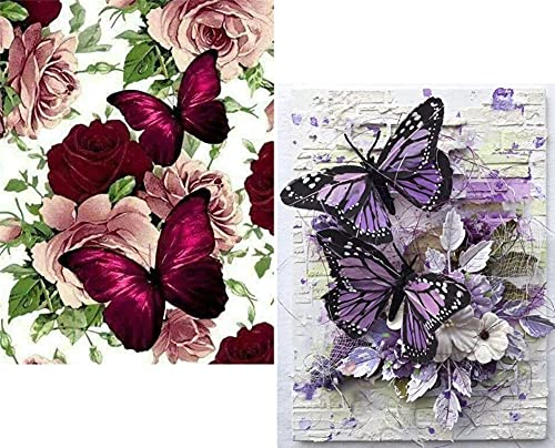 2 Pack Diamond Painting - DIY 5D Diamond Painting Kits for Adults - Diamond Art Kits Round Full Drill Diamond Arts Craft for Home Wall Decor Canvas ( Butterfly 12 x 16 inch X 2 PCS)