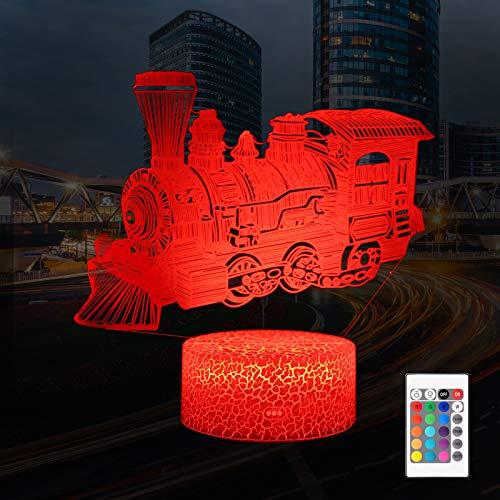 QiLiTd Zug Eisenbahn Lampe LED Nachtlicht mit Fernbedienung, 16 Farben Wählbar Dimmbare Touch Schalter Nachtlampe Geburtstag Geschenk, Frohe Weihnachten Geschenke Für Mädchen Männer Frauen Kinder