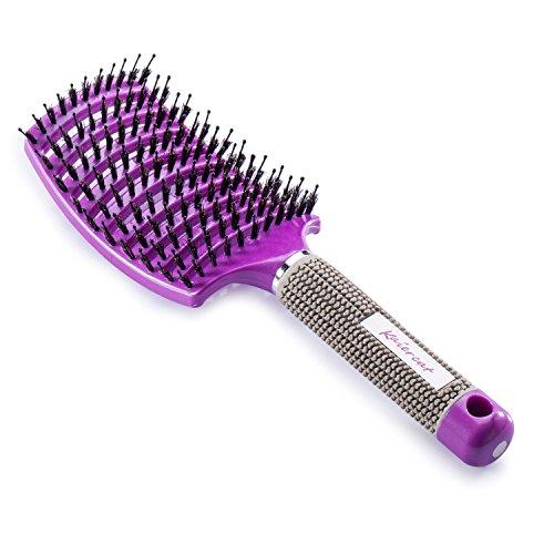 Brosse à poil de sanglier Kaiercat® - Meilleure pour démêlage de cheveux épais et démêlant pour séchage plus rapide - Poil de sanglier 100% naturel pour Distribution d'huile de cheveux (Violet)
