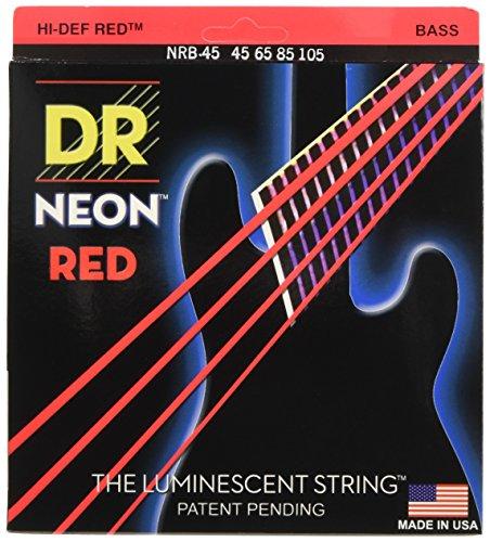DR Hi-Def Neon Red Medium 4 String bass 45-105 (NRB-45)