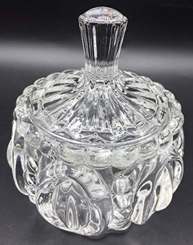 Una Bombonera de Cristal con Tapa, confitera y bombonera de Cristal Cubierto de Vidrio (blanco-01)