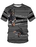 LIDADA メンズ Tシャツ 半袖 犬柄 3d ブリント ボーダー 面白 黒 面白 スウェット カジュアル イベント 贈り物 M