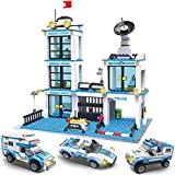 Rescue City Police Station Building Blocks Set | City Police Toy Bricks Kit with Emergency Police Patrol Cars and Vehicles | Storage Box with Lid for Kids