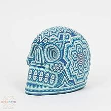 Huichol Art - Skull Art - Huichol Beaded Skull - Mexican Art - Mexican Folk Art - Mexican Skull - Cinco De Mayo - Cinco De Mayo Decor - Indigenous Art - Beaded Art - Sugar Skull - Aquamarine