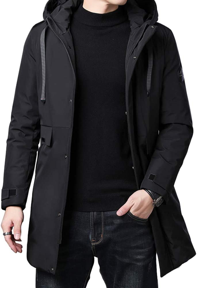 Down jacket Medium Long Hooded Jacket, Thicken Middle-Aged Men's Business, Casual Outerwear, Filler: White Duck Down (Color: Black, Beige)