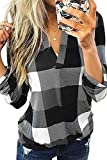 Uusollecy Damen Bluse Oberteile, V-Ausschnitt Kariert Langarmshirt, Elegant Sexy Tunika Tops Für Frauen Teen Girls Grau XL