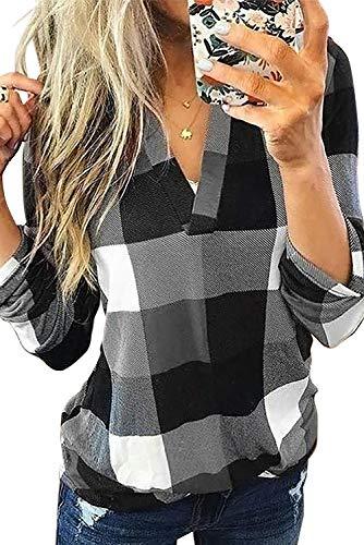Uusollecy Damen Bluse Oberteile, V-Ausschnitt Kariert Langarmshirt, Elegant Sexy Tunika Tops Für Frauen Teen Girls Grau L