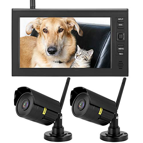 Überwachungskamera System, 7 Zoll 2CH Sicherheitsmonitor-Systemanzeige mit 2 * CCTV Kamera, Wasserdicht Drahtlose Überwachungssystem, mit FortgeschrittenNachtsicht + Bewegungsmelder + App Fernzugriff